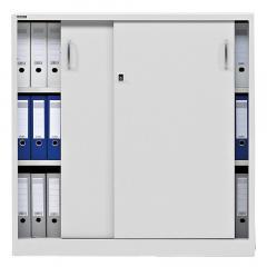 Schiebetürenschrank BASE LINE Lichtgrau RAL 7035 | 1200 mm (3 OH)