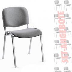 12er SET - Besucherstühle ISO Grau | Verchromt
