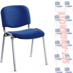 12er SET - Besucherstühle ISO Blau | Verchromt