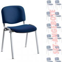 12er SET - Besucherstühle ISO Dunkelblau   Verchromt