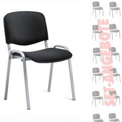 12er SET - Besucherstühle ISO Schwarz | Alusilber