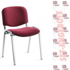 12er SET - Besucherstühle ISO Bordeaux | Verchromt