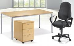 SET-Angebot Schreibtisch, Rollcontainer, Bürodrehstuhl