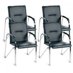 4 Konferenzstühle ARKAS im SET - Echtleder