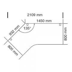 Schreibtisch 4-Fuß PROFI MODUL Lichtgrau | 1450/932 | 800 | Freiform linksseitig
