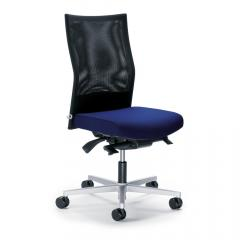 Bürodrehstuhl winSIT NET ohne Armlehnen Dunkelblau | Sitzneigeverstellung-Automatik, Sitztiefenverstellung, Synchronmechanik | Alusilber