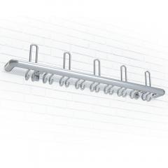 Wandgarderobe aus Aluminium, Sicherheitsgarderobe 3 Hut-/ 10 Mantelhaken, runder Garderobenträger
