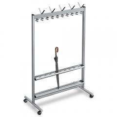 Reihengarderobenständer V Aluminium 860 | 8 Hut-/ 32 Mantelhaken | ohne Schirmhalter