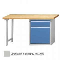 Werkbank SERIE ALLROUND Lichtgrau RAL 7035 | 1500 | Buche-Massiv-Arbeitsplatte