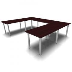 Konferenztisch DELTA-ORBIS Wenge | 3200 | U-Form eckig, 12 Sitzplätze | Alusilber RAL 9006