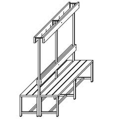 Doppelseitige Garderoben-Sitzbank Rubinrot RAL 3003 | 2000 | zweiseitige Garderobenbank | ohne Schuhrost
