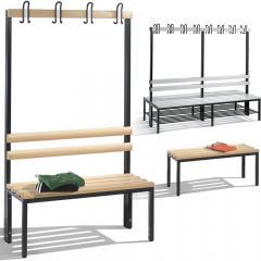 Sitz- und Garderobenbänke mit Buchenholz- oder Kunststoffleisten