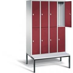Doppelstöckige Garderoben-Stahlspinde CLASSIC mit glatten Türen und untergebauter Sitzbank, Kunststoffleisten