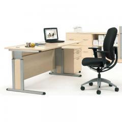 Schreibtisch Comfort MULTI MODUL Ahorndekor | 1600 | Alusilber RAL 9006