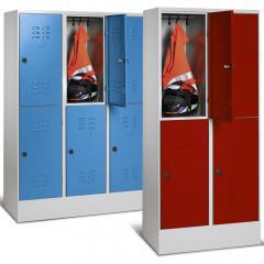 Doppelstöckige Garderoben-Stahlspinde BASIC mit Sockel