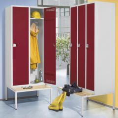 Garderoben-Stahlspinde SP PROFI SYSTEM mit untergebauter Sitzbank