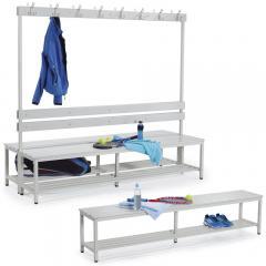 Sitz- und Garderobenbänke PROFI mit Kunststoffleisten
