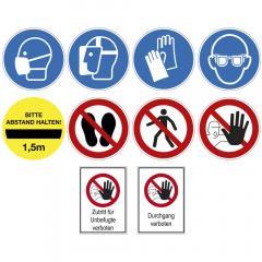 Selbstklebende Gebots- und Verbotsschilder, Hinweisschilder