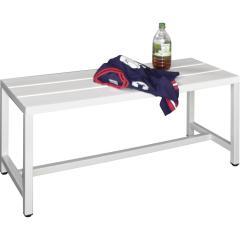 Sitzbank mit Kunststoffleisten, ohne Schuhrost Lichtgrau RAL 7035 | 1000 | freistehende Sitzbank | ohne Schuhrost