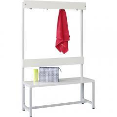 Einseitige Garderoben-Sitzbank, ohne Schuhrost Lichtgrau RAL 7035 | 1000 | einseitige Garderobenbank | ohne Schuhrost