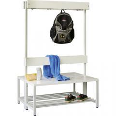 Doppelseitige Garderoben-Sitzbank Lichtgrau RAL 7035 | 1000 | zweiseitige Garderobenbank | ohne Schuhrost