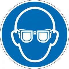 """Selbstklebendes Gebotsschild """"Augenschutz benutzen"""" Augenschutz benutzen"""