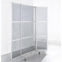 Hygieneklappstellwand ALASKA, 3-teilige Optik 1980 | 1000 | Klappstellwand, mobil | ESG-Klarglas