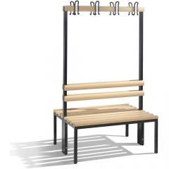 Sitz- und Garderobenbank Schwarzgrau RAL 7021 | 1000 | zweiseitige Garderobenbank | mit Holzleisten | ohne Schuhrost