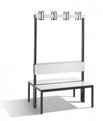 Doppelseitige Garderobenbank Basic Plus Weiß | 1000 | mit Rückenlehne | zweiseitige Garderobenbank | ohne Schuhrost