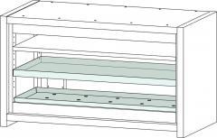 Bodenwanne 24L inkl. Lochblecheinsatz Stahlblech für Sicherheits-Unterbauschrank Typ 90