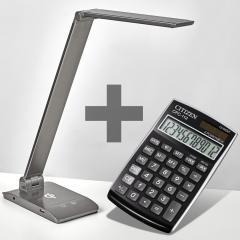 LED Tischleuchte mit Aufladefunktion und Rechner