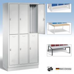 Doppelstöckige Garderobenspinde, glatten Türen - CLASSIC