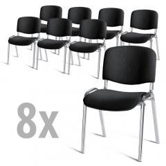 8er Set-Besucherstühle ISO Schwarz | Verchromt