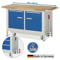 Mobile Werkbänke, absenkbar, 2 Schubladen und 2 Türen