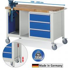 Mobile Werkbänke mit 3 Schüben, Schraubstock, absenkbar