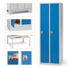 Garderoben-Stahlspinde SYSTEM SP2 mit vier Unterbauarten
