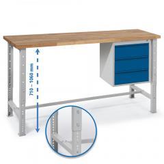 Werkbank WS PROFI mit drei Schubladen - höheneinstellbar