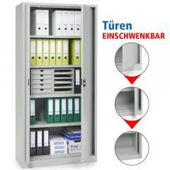 Büro-Stahlschrank mit einschwenkbaren Türen