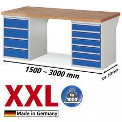 XXL-Werkbank mit 1x4 und 1x6 Schubladen
