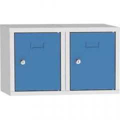 Schließfach-Aufsatzschrank, 2 Fächer Lichtblau RAL 5012 | 600