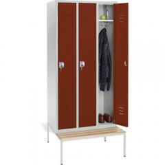 Garderoben-Stahlspind SYSTEM SP2 mit Sitzbank Rubinrot RAL 3003 | 300 | 3 | Zylinderschloss