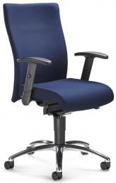 Bürodrehstuhl DV 35 mit Armlehnen Dunkelblau | verstellbare Armlehnen | Alusilber