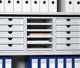 SET Kunststoff-Schubladenboxen Lichtgrau | 3 Boxen, offene Schübe