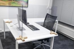Holz-Fuß für Plexiglas-Trennscheibe, 4-Wege