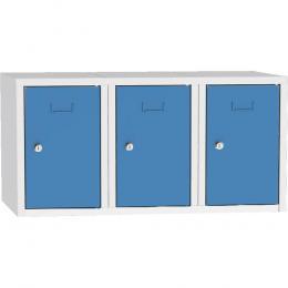 Schließfach-Aufsatzschrank, 3 Fächer Lichtblau RAL 5012 | 900