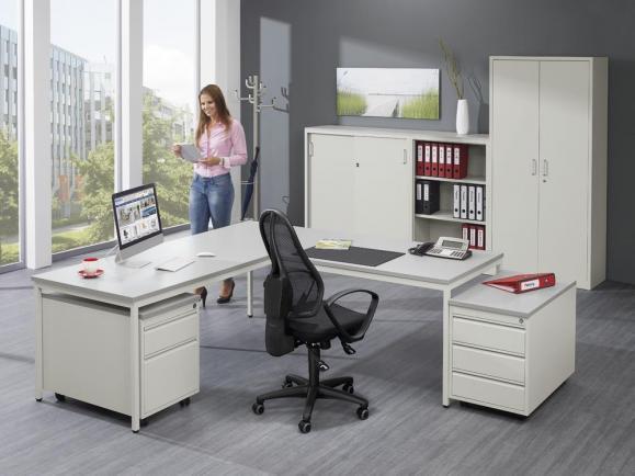 Jumbo-Schreibtisch 4-Fuß BASE LINE inkl. Rollcontainer