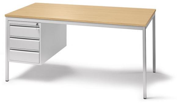 Schreibtischkombination BASE LINE Buchedekor | 1600 | 1 Hängecontainer: Mit 3 Schüben