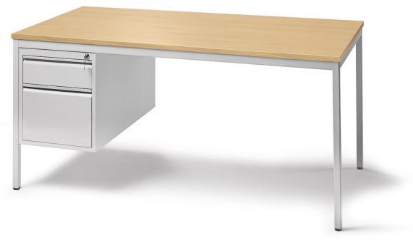 Schreibtischkombination BASE LINE Buchedekor | 1600 | 1 Hängecontainer: Mit 1 Schub und 1 Hängeregistratur