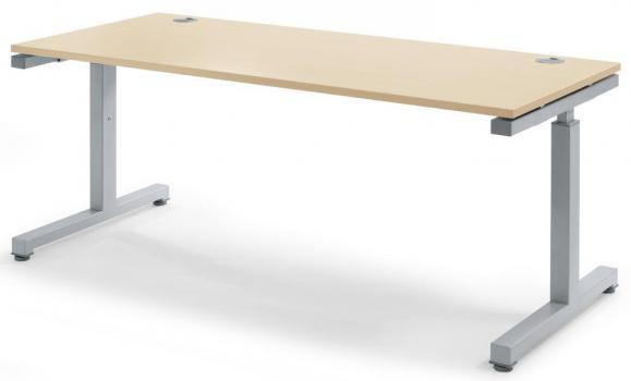 Schreibtisch Comfort 2.0 MULTI MODUL Ahorndekor | 1600 | Alusilber RAL 9006