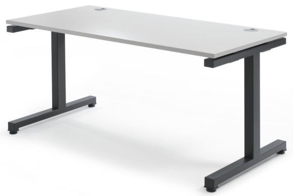 Schreibtisch Comfort 2.0 MULTI MODUL Lichtgrau | 1600 | Anthrazit RAL 7016